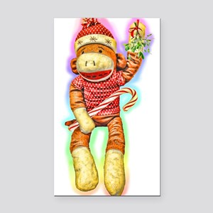 Glowing Christmas SockMonkey Rectangle Car Magnet