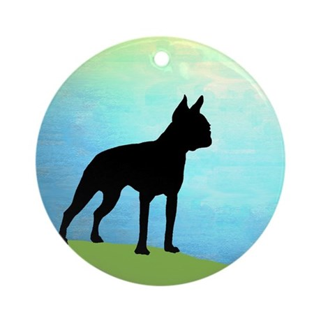 boston terrier bright sky Ornament (Round)