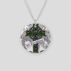 Davidson Tartan Cross Necklace Circle Charm