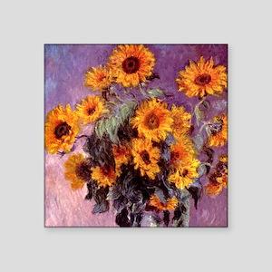 "Claude Monet Sunflowers Square Sticker 3"" x 3"""