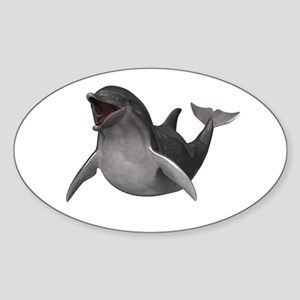 Happy Dolphin Sticker (Oval)