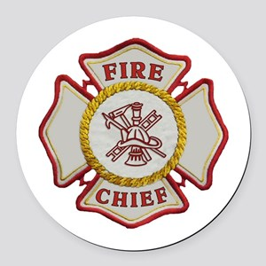 Fire Chief Maltese Round Car Magnet