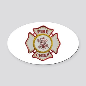 Fire Chief Maltese Oval Car Magnet