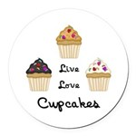 Live Love Cupcakes Round Car Magnet