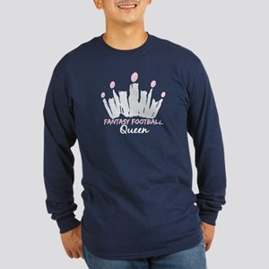 Fantasy Football Queen Long Sleeve Dark T-Shirt