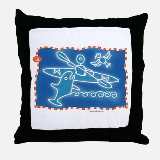 Cute Kayaking Throw Pillow