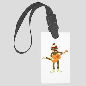 Sock Monkey Acoustic Guitar Large Luggage Tag