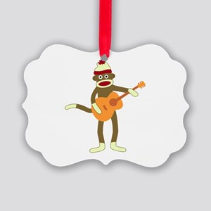 Sock Monkey Acoustic Guitar Picture Ornament