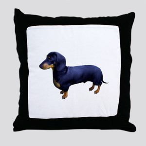 Mini Dachshund at Attention Throw Pillow