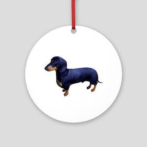 Mini Dachshund at Attention Ornament (Round)
