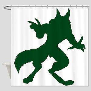 Dark Green Werewolf Shower Curtain