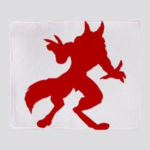 Red Werewolf Silhouette Throw Blanket