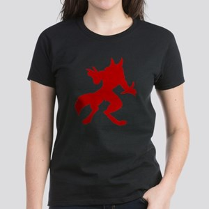Red Werewolf Silhouette Women's Dark T-Shirt