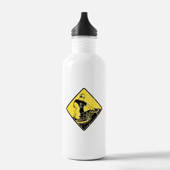 DJ Caution Sign Water Bottle