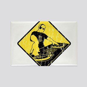 DJ Caution Sign Rectangle Magnet