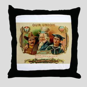 Spanish American War Cigar Box Label Throw Pillow