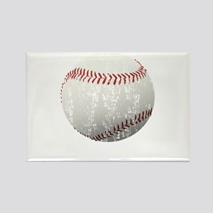 Baseball Distressed Rectangle Magnet