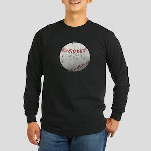 Baseball Distressed Long Sleeve Dark T-Shirt