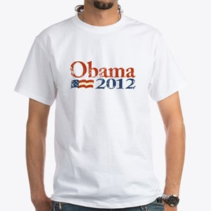 Obama 2012 Faded White T-Shirt