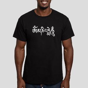 White Om Mani Padme Hum Men's Fitted T-Shirt (dark