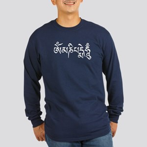 White Om Mani Padme Hum Long Sleeve Dark T-Shirt