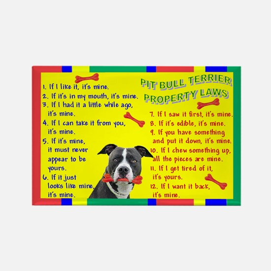 Pit Bull Property Laws Rectangle Magnet (100 pack)