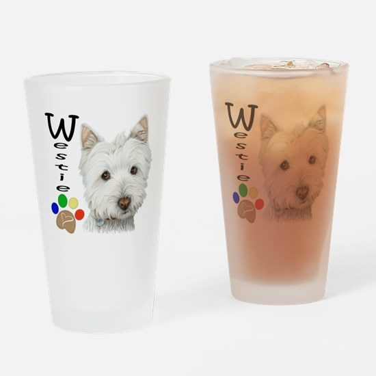 Westie Dog and Paw Print Design Drinking Glass