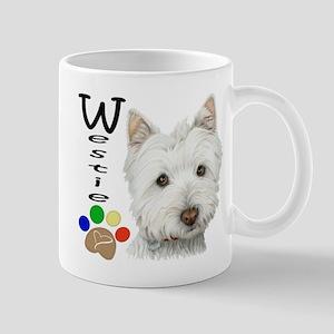 Westie Dog and Paw Print Design Mug
