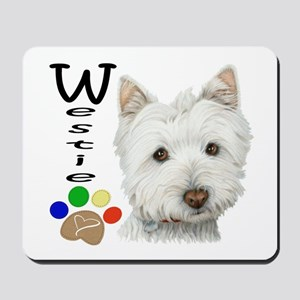 Westie Dog and Paw Print Design Mousepad