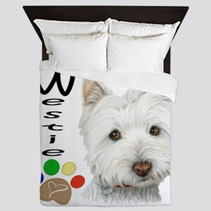 Westie Dog and Paw Print Design Queen Duvet
