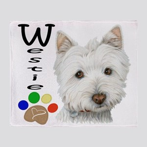 Westie Dog and Paw Print Design Throw Blanket