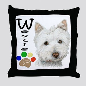 Westie Dog and Paw Print Design Throw Pillow