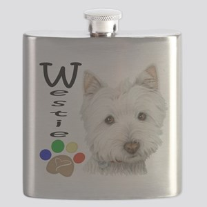 Westie Dog and Paw Print Design Flask