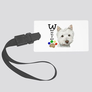 Westie Dog and Paw Print Design Large Luggage Tag