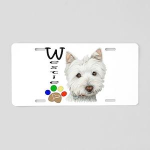 Westie Dog and Paw Print Design Aluminum License P