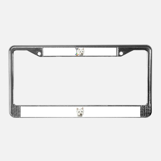 Westie Dog and Paw Print Design License Plate Fram
