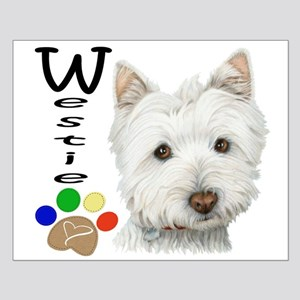 Westie Dog and Paw Print Design Small Poster