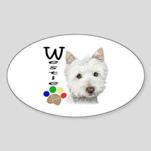 Westie Dog and Paw Print Design Sticker (Oval)