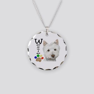 Westie Dog and Paw Print Design Necklace Circle Ch