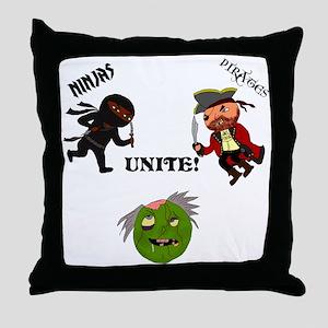 Ninjas and Pirates Unite! Throw Pillow