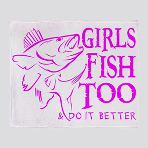 GIRLS FISH TOO WALLEYE Throw Blanket