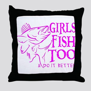 GIRLS FISH TOO WALLEYE Throw Pillow