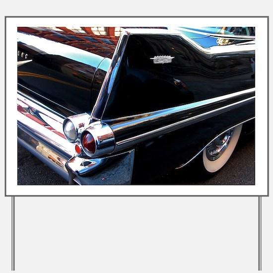Classic Cars: 1950's Black Caddy Yard Sign