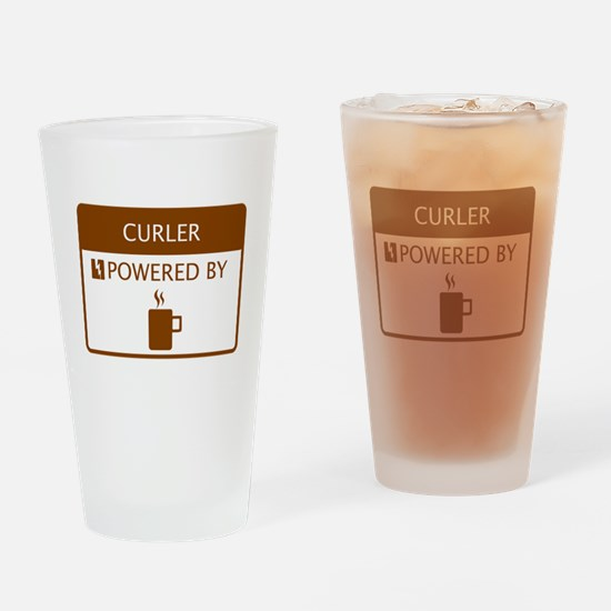 Curler Powered by Coffee Drinking Glass