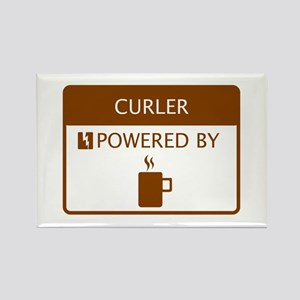 Curler Powered by Coffee Rectangle Magnet