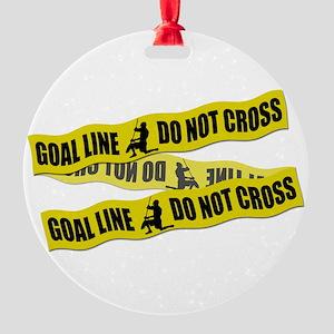 Lacrosse Goalie Crime Tape Round Ornament