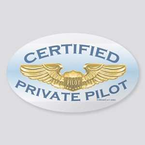 Pilot Wings (gold on blue) Sticker (Oval )