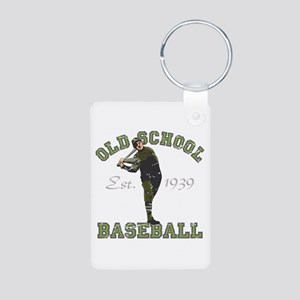 Old School Baseball Aluminum Photo Keychain