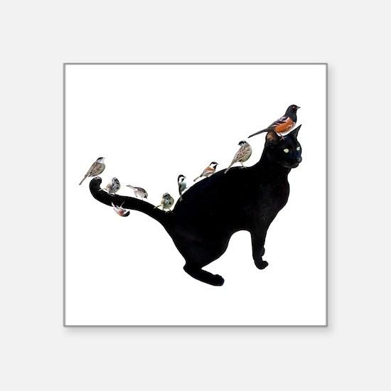 """Birds on Cat Square Sticker 3"""" x 3"""""""