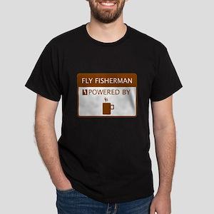 Fly Fisherman Powered by Coffee Dark T-Shirt